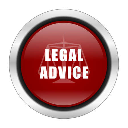 advisor: legal advice icon, red round button isolated on white background, web design illustration Stock Photo