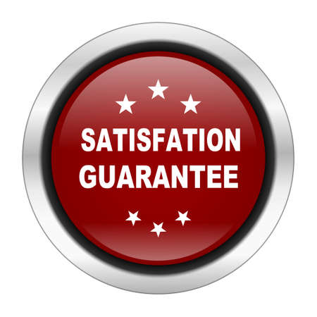 satisfaction guarantee: satisfaction guarantee icon, red round button isolated on white background, web design illustration