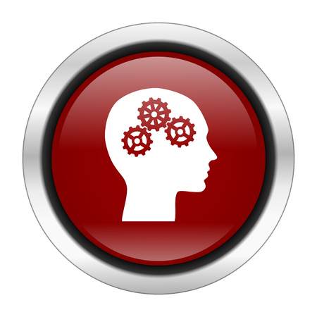 brainy: head icon, red round button isolated on white background, web design illustration Stock Photo