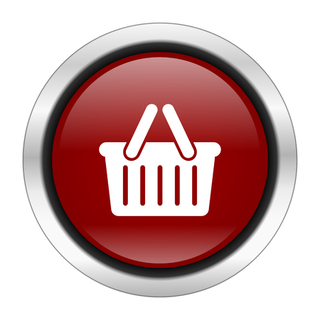 basket icon: cart icon, red round button isolated on white background, web design illustration