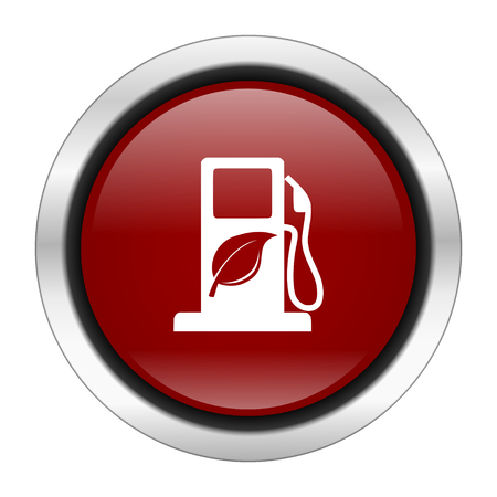 biofuel: biofuel icon, red round button isolated on white background, web design illustration