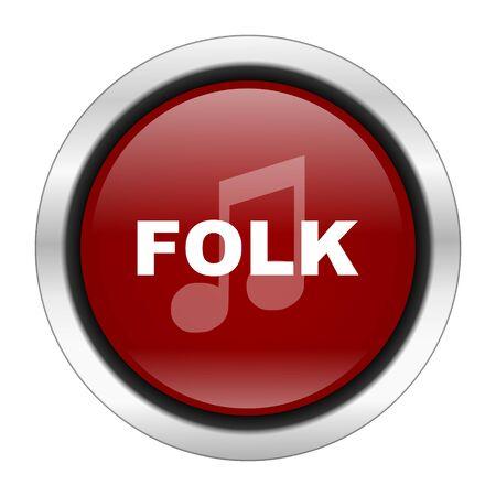 folk music: folk music icon, red round button isolated on white background, web design illustration