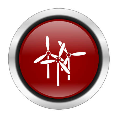 steel mill: windmill icon, red round button isolated on white background, web design illustration