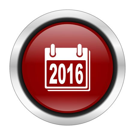 scheduler: new year 2016 icon, red round button isolated on white background, web design illustration