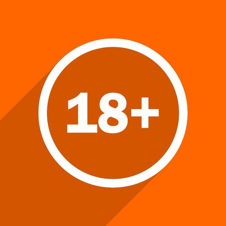 adult only: adults icon. Orange flat button. Web and mobile app design illustration
