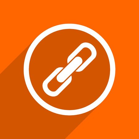 cohesion: link icon. Orange flat button. Web and mobile app design illustration