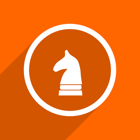 chess horse: chess horse icon. Orange flat button. Web and mobile app design illustration Stock Photo