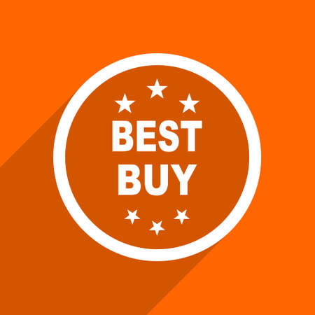 best buy: best buy icon. Orange flat button. Web and mobile app design illustration