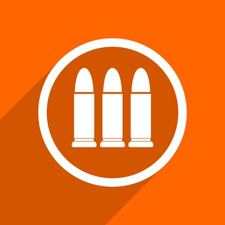 ammunition: ammunition icon. Orange flat button. Web and mobile app design illustration Stock Photo