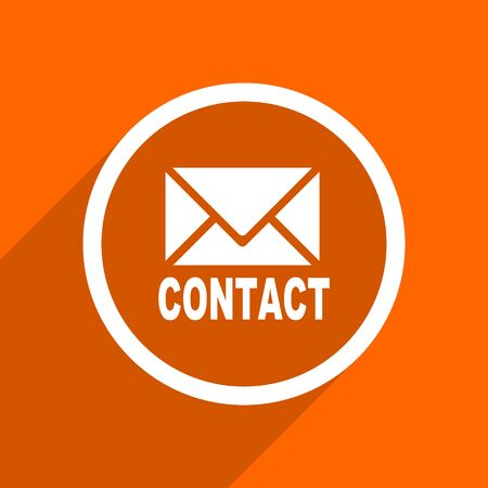 contact icon: email icon. Orange flat button. Web and mobile app design illustration