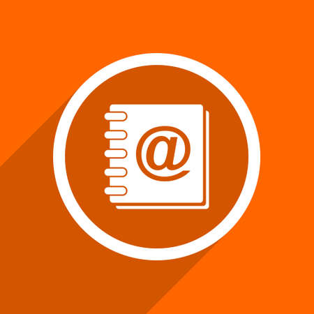 web address: address book icon. Orange flat button. Web and mobile app design illustration