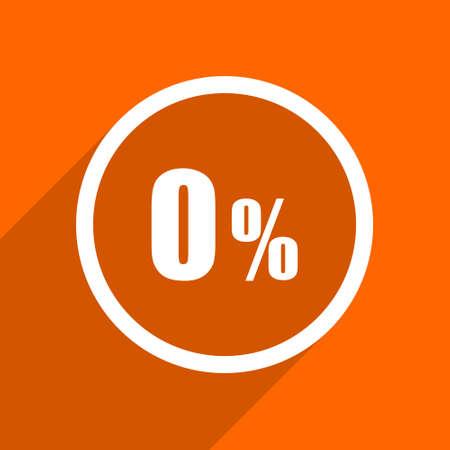 bargaining: 0 percent icon. Orange flat button. Web and mobile app design illustration