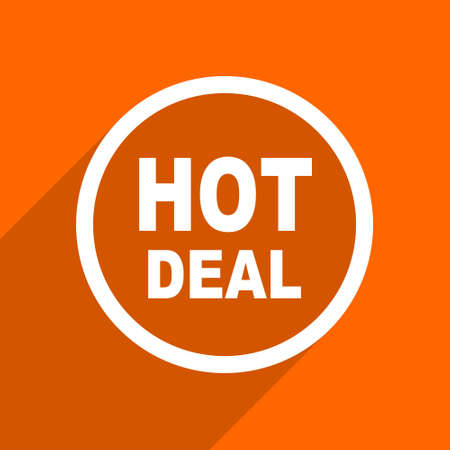 hot deal: hot deal icon. Orange flat button. Web and mobile app design illustration Stock Photo