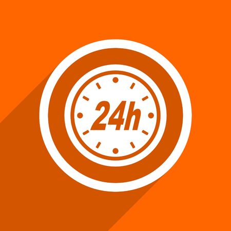24h: 24h icon. Orange flat button. Web and mobile app design illustration