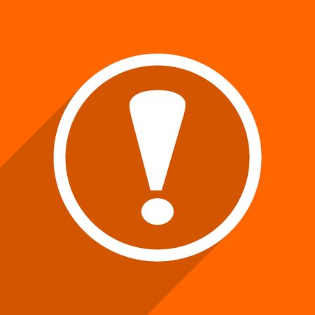 exclamation sign icon: exclamation sign icon. Orange flat button. Web and mobile app design illustration