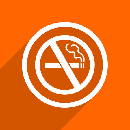 no smoking icon. Orange flat button. Web and mobile app design illustration