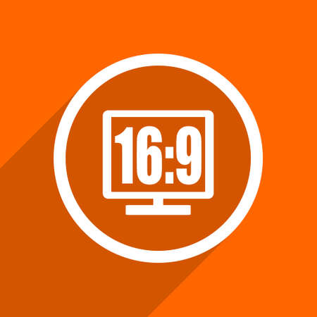 16 9 display: 16 9 display icon. Orange flat button. Web and mobile app design illustration