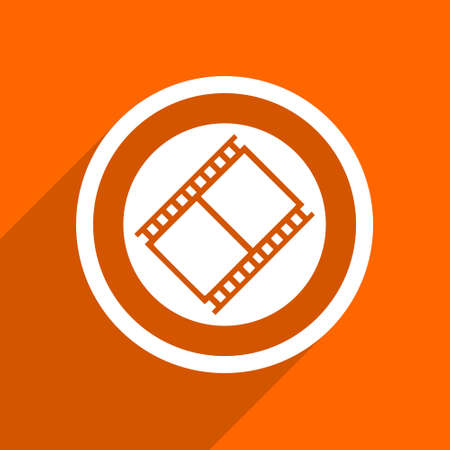 watch movement: film icon. Orange flat button. Web and mobile app design illustration Stock Photo