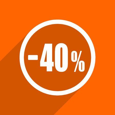 bargaining: 40 percent sale retail icon. Orange flat button. Web and mobile app design illustration
