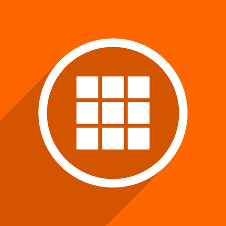 thumbnails: thumbnails grid icon. Orange flat button. Web and mobile app design illustration