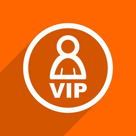 private club: vip icon. Orange flat button. Web and mobile app design illustration