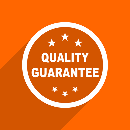 advantages: quality guarantee icon. Orange flat button. Web and mobile app design illustration