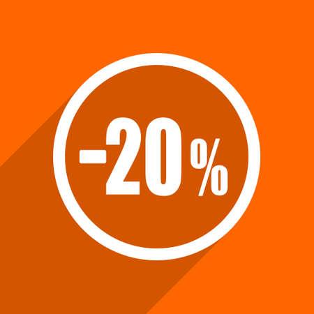 20: 20 percent sale retail icon. Orange flat button. Web and mobile app design illustration