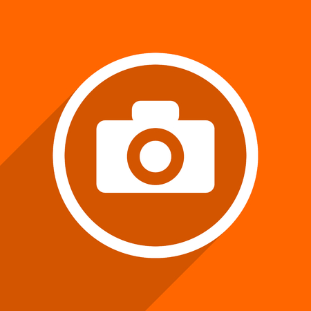 picto: camera icon. Orange flat button. Web and mobile app design illustration