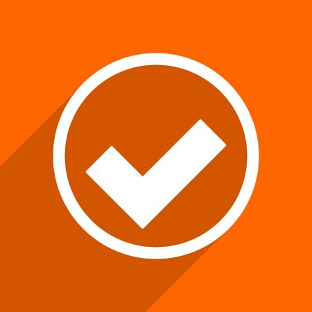 to accept: accept icon. Orange flat button. Web and mobile app design illustration