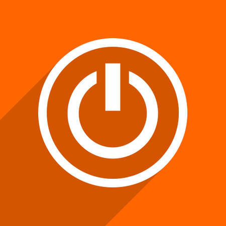 running off: power icon. Orange flat button. Web and mobile app design illustration