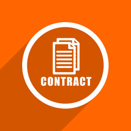 pact: contract icon. Orange flat button. Web and mobile app design illustration