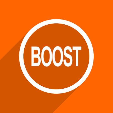 boost: boost icon. Orange flat button. Web and mobile app design illustration
