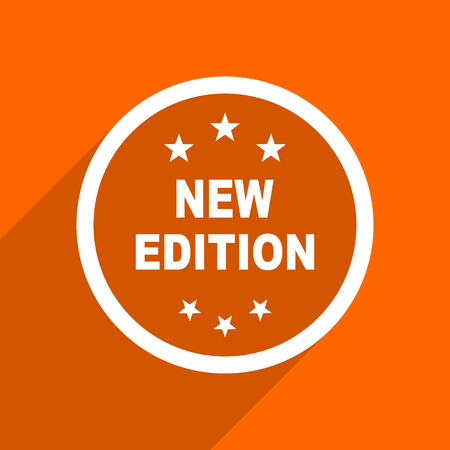 new and improved: new edition icon. Orange flat button. Web and mobile app design illustration