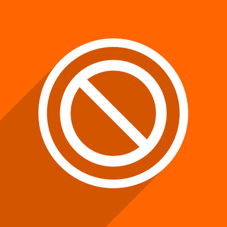 entrance is forbidden: access denied icon. Orange flat button. Web and mobile app design illustration