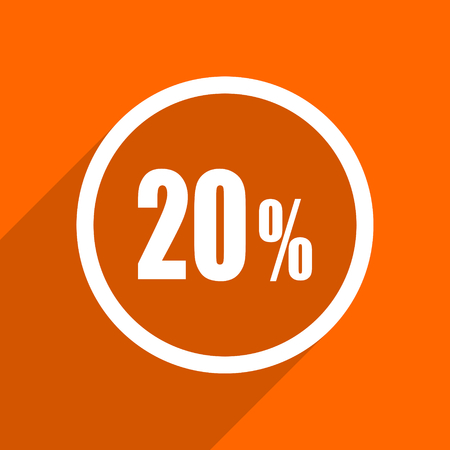 bargaining: 20 percent icon. Orange flat button. Web and mobile app design illustration