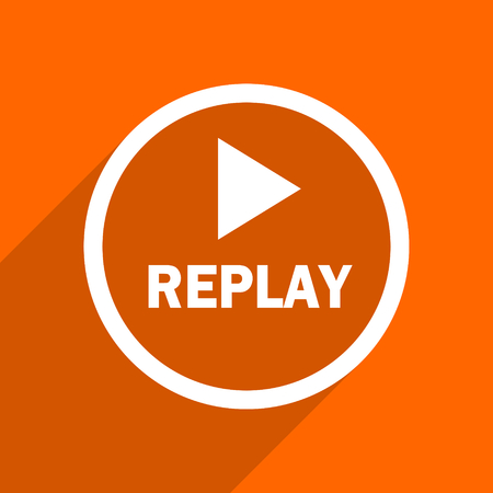 proceed: replay icon. Orange flat button. Web and mobile app design illustration Stock Photo