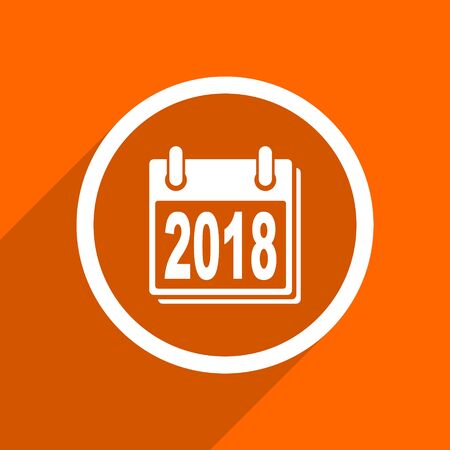 scheduler: new year 2018 icon. Orange flat button. Web and mobile app design illustration Stock Photo