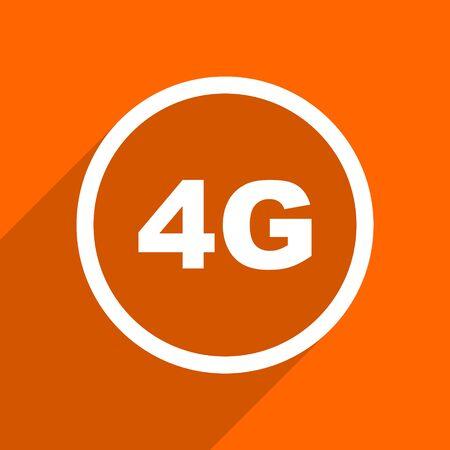 4g: 4g icon. Orange flat button. Web and mobile app design illustration Stock Photo