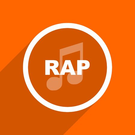 rap music: rap music icon. Orange flat button. Web and mobile app design illustration