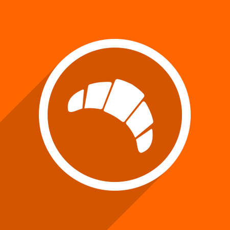traditionally: croissant icon. Orange flat button. Web and mobile app design illustration Stock Photo