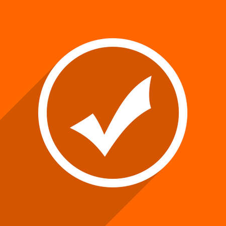 accept icon: accept icon. Orange flat button. Web and mobile app design illustration