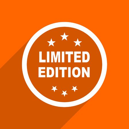 limited edition: limited edition icon. Orange flat button. Web and mobile app design illustration Stock Photo
