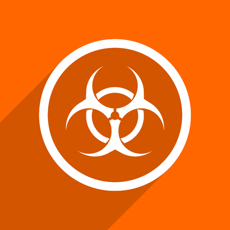 bacterioa: biohazard icon. Orange flat button. Web and mobile app design illustration Stock Photo