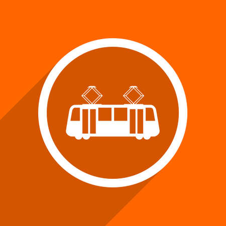 streetcar: tram icon. Orange flat button. Web and mobile app design illustration