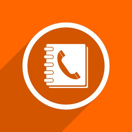 phonebook: phonebook icon. Orange flat button. Web and mobile app design illustration