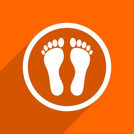 barefoot walking: foot icon. Orange flat button. Web and mobile app design illustration Stock Photo