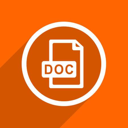 doc: doc file icon. Orange flat button. Web and mobile app design illustration Stock Photo