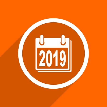 scheduler: new year 2019 icon. Orange flat button. Web and mobile app design illustration