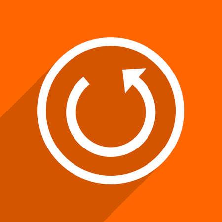 rotate icon: rotate icon. Orange flat button. Web and mobile app design illustration