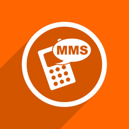 mms icon: mms icon. Orange flat button. Web and mobile app design illustration